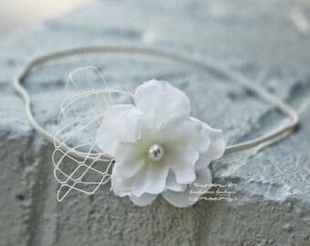 baby headband, newborn headbands, bridal veil, small flower headband, infant headband,  photo prop