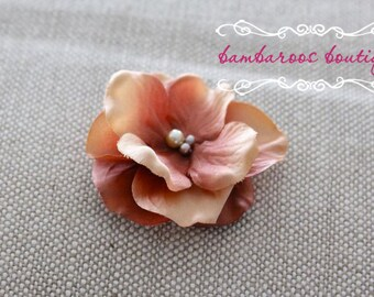rustic tan brown flower hair clip, small flower clip, small flower hair clips