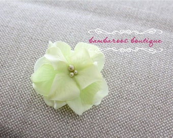 green flower clip, flower clip, small flower hair clips, flower girl hair clips