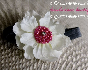 white baby headband, headband, headbands, hair accessories, headbands for baby, baby headbands, flower headband, baby head bands