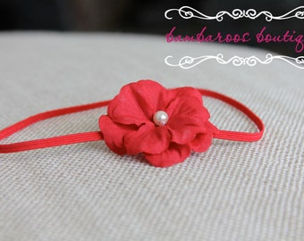 red baby headband, newborn headband, photography props, small red flower headband