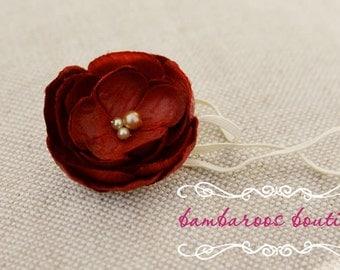 Newborn Headband, maroon red flower, Red FLower Headband
