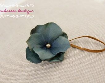 Teal aqua blue baby flower headband, Newborn Headband, Baby Headband, Small FLower Headband