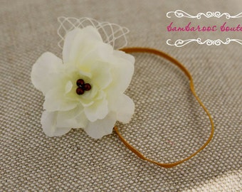 white flower headbands, newborn photography props, mustard yellow, Infant Headband, Toddler Headband, Baptism headband