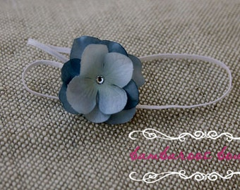 Tiny Small Petite Flower on skinny elastic headband  Blue Newborn baby to Adult