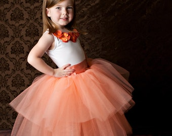 peach flower girl dress, peach tutu, peach tulle, sewn tutu