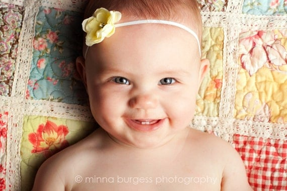 Petite Yellow Tiny Flower w/ rhinestone Center on skinny soft stretch Elastic Headband. Newborn, Baby, Infant, Toddler, girls, ADULTS