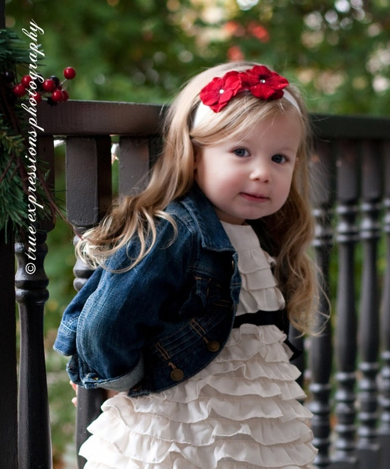 Christmas Red Flower Headband, baby headband, newborn headband, holiday red headband, photography props