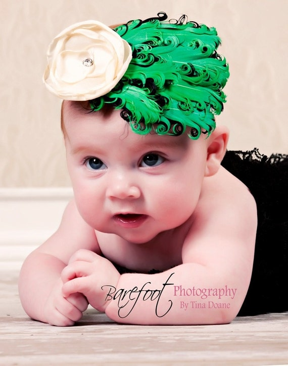baby feather fascinator, Green Feather Headband, newborn feather fascinator headband, photography prop