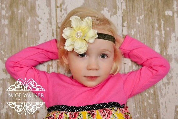Ivory with soft yellow center flower on army green elastic headband Pearl and rhinestone center YOU pick the size
