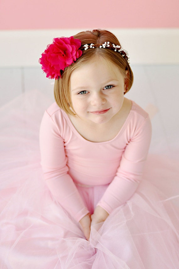 Hair wreath, Pink flowers, White Flower Hair Wreath, Flower Girls,  Photography Props,