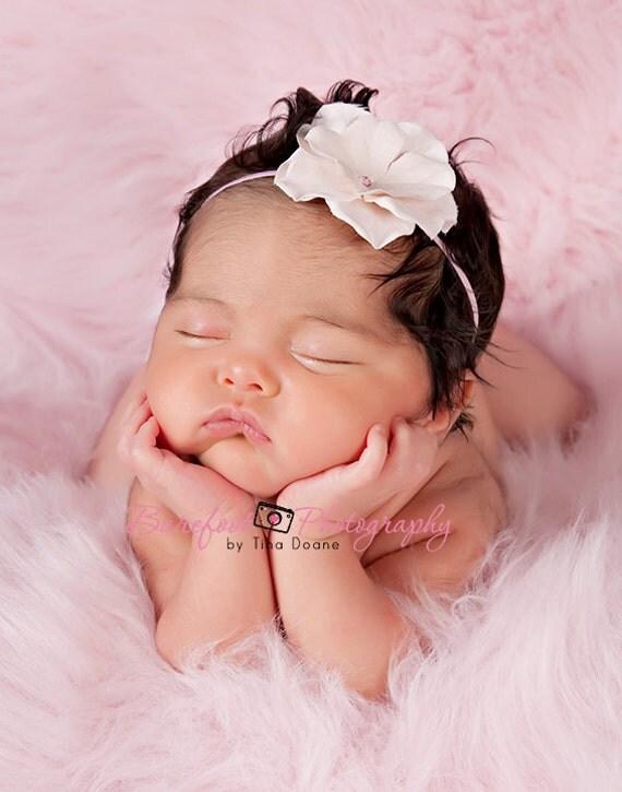 pink headband, pink hair flower, baby headband