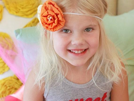 Vintage Flower Headband, ivory headband, orange headband on skinny Elastic PHOTOGRAPHY PROPS