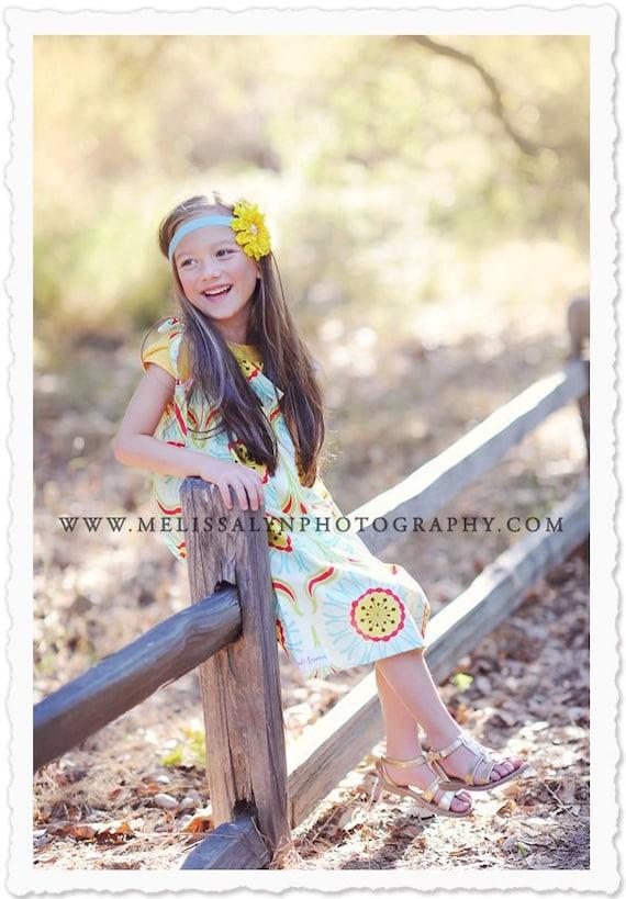 Yellow Flower on Light Teal Blue Soft Elastic Headband photography prop, Newborn Baby Infant Toddler Girl