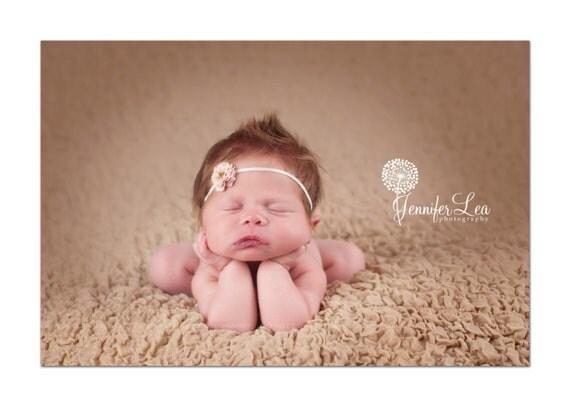 newborn headband, Tiny Petite Vintage Rose Pink Flower on Skinny Ivory Elastic Headband Photography Props, Flower Girls, Newborn Headbands
