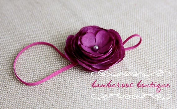 baby headbands, newborn headbands, deep purple flower headband, infant headband, toddler, teen, adult great photo prop