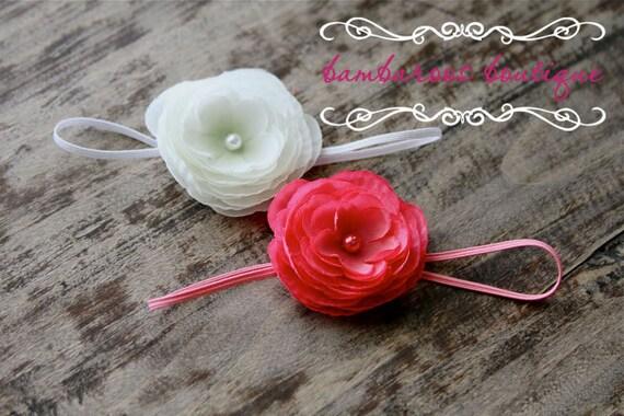 pink flower headband, pink baby headband, white small flower headband, newborn photography prop, gift set