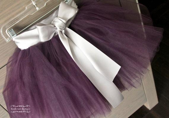eggplant tutu, flower girl dresses, chic tutus, purple tutu, purple flower girl dress