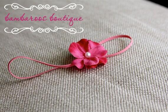 hot pink baby headband, newborn headbands, small pink flower, infant headband, toddler headband, baptism headband