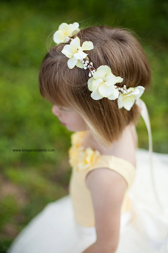 Yellow Flower Girl Hair Wreath, Flower girl hair accessories, hair wreath, Wedding