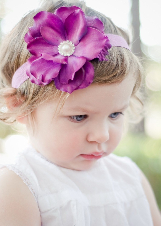 Purple Flower Headband baby headband flower girl hair