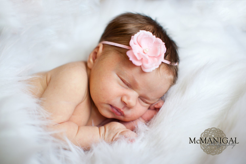 Pink Flower Headband Baby Headbands Newborn Skinny