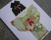 Kokeshi Doll Stationery Card - Sage and Ruby