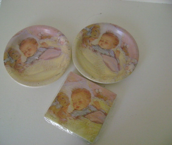 vintage baby shower serving napkins and plates by urbanupcycles