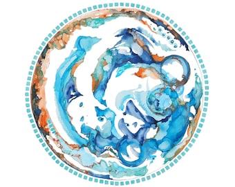 Beach Wall Art Blue Zen Watercolor Modern Mandala Painting, Office Decor, Beach Home Decor, Blue Wall Art, Ocean Art,