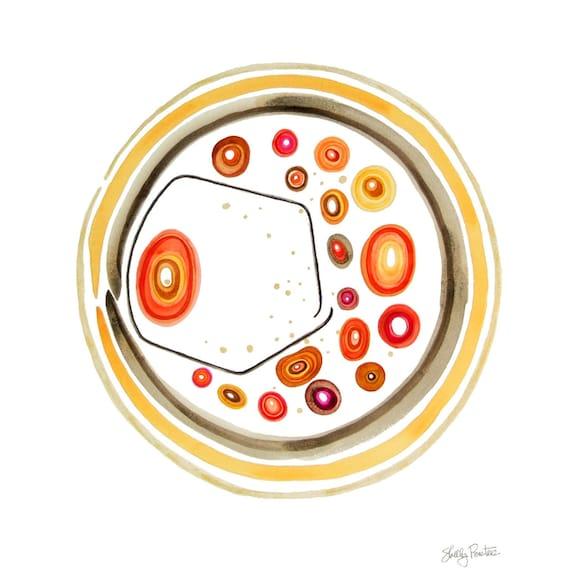 Retro Modern, Watercolor, Original Painting, Original Art, Ready to Frame, Mandala, Circle Art