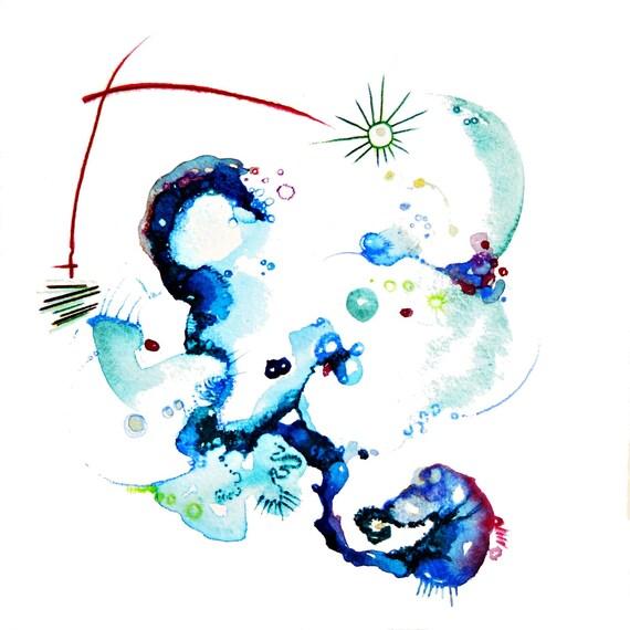 Watercolor Print, Pastel Blue, Springtime, Stars, Sky, Art, Watercolor Art Print, Retro Modern Wall Art, Unique Decor, Moon,
