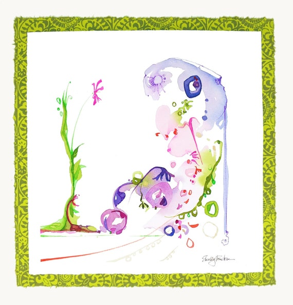 Abstract Floral Painting, Garden Watercolor, Green Home Decor, Unique Wall Art, Lavender, Chartreuse, Pink, Bold & Bright Colors,