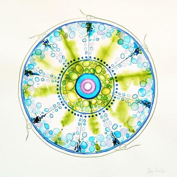Original Art, Sky, Nature, Clouds, Watercolor Painting, Modern Decor, Wall Art, Blue, Chartreuse, Green, Clouds,
