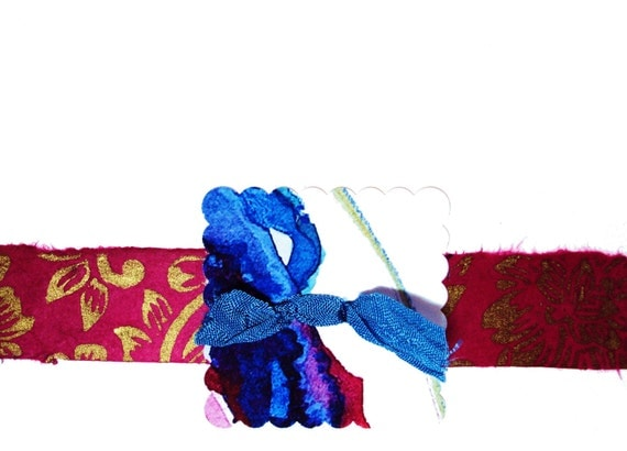 Gift Under 20, Blank Note Cards, Set of 6, Up-cycled, OOAK, Note Cards, Wedding Notes, Stationery, Fuchia, Blue