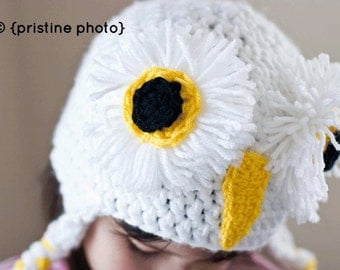 Fluffy and Frayed White Snow Owl by The Handmade Heritage, Multiple Colors for Women, Children, Infants Hats with Braided Tassels