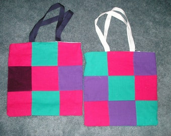 Multi-Coloured Corduroy Tote Bags - 2 PACK - one for you one for your best friend