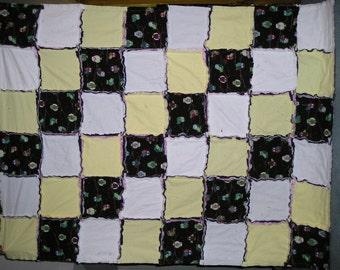 Owl Flannel Rag Blanket Quilt with White and Yellow and Flower and Purple Backing