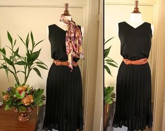 vintage black chiffon pleated dress S or M