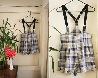 vintage high waisted suspender shorts blue ROMPER