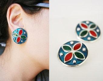 vintage ocean jewel clipon earrings or shoeclips