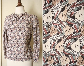 vintage abstract PINK print tie blouse sz XS or S