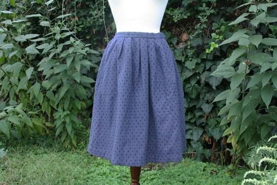 vintage blue grey polka dot skirt (M/L)