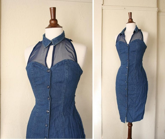 vintage collared sheer SWEETHEART NECKLINE denim wiggle dress sz XS to S