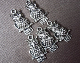 Five owl on a twig charms - silver tone metal - for jewelry and craft - charms and findings
