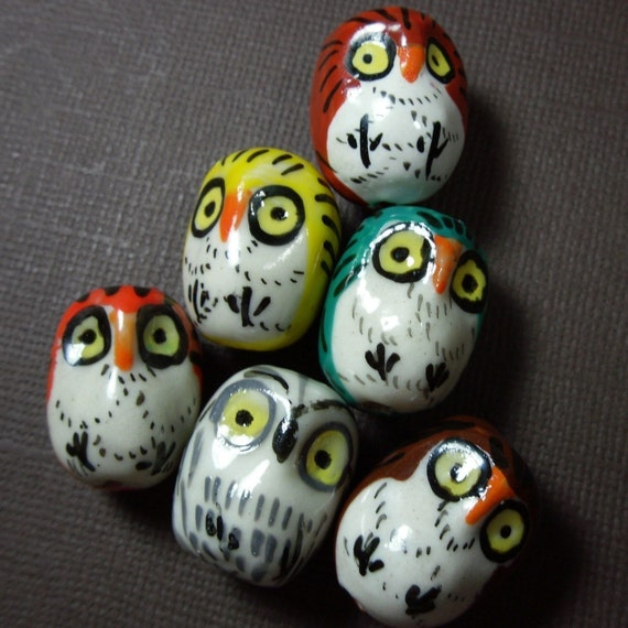 A Parliament of Owls - 6 hand painted ceramic owl beads - you pick colors - loose beads