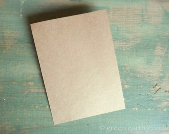 """25 A1 Kraft Flat Cards: Eco-friendly & Recycled, rustic, Flat Cards only, brown grocery bag, DIY, 3 1/2"""" x 4 7/8"""" 65lb, 80lb, 100lb or 105lb"""