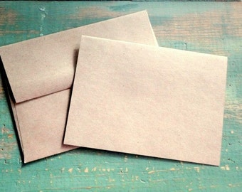 "100 4""x6"" (A4) Folded Cards & Envelopes: 4x6"" (102x155mm) Blank photo cards, recycled, kraft or light brown, 65lb, 80lb, 100lb, 105lb, 146lb"