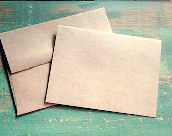 "25 4""x6"" Folded Cards & Envelopes: 4x6 (102x155mm) Blank photo cards, eco, recycled, kraft or light brown 65lb, 80lb, 100lb, 105lb or 146lb"