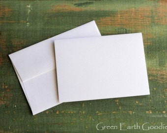 """100 A1 Folded Cards & Envelopes: 3 1/2 x 4 7/8"""" (89x124 mm) folded recycled card with envelope, white, bright white, natural white or ivory"""