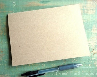 "100 A7 Blank Cards: Folded Kraft Cards Only, Rustic Cards, Recycled, 5 1/8"" x 7"" or 5x7"", kraft or light brown, 80lb, 100lb, 105lb, or 146lb"